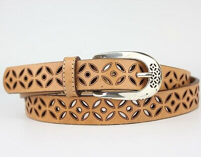 £13.95 • Buy Brown Tan Thick Leather Belt Retro Vintage Style Size L