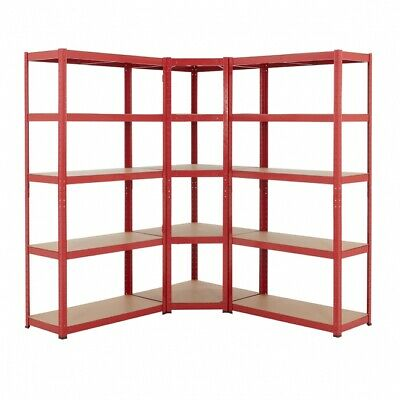 BiGDUG Red Garage Corner Shelving Kit | Boltless Shed Racking Storage | 178h Cm  • 117.99£