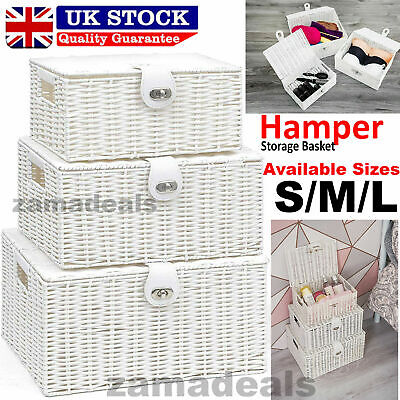 Hamper Storage Basket Box Resin Woven Wicker Xmas With Lid & Lock Gift In 3 Size • 11.55£