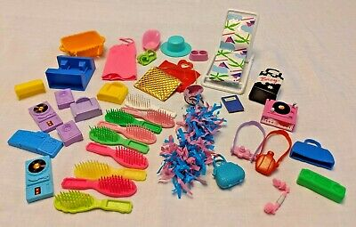 $ CDN13.21 • Buy Vintage BARBIE Accessories BIG Lot 1980s RETRO Stereo Purse Bag PomPom Chair Hat
