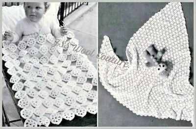 CROCHET PATTERN Blanket Cot Pram Cover Lined Baby DK + 4ply Lacy Shawl X2 ((303) • 1.80£
