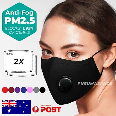 AU5.20 • Buy Washable & Reusable Protective Cotton Face Mask Black Unisex Filter Mouth Cover