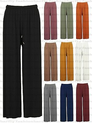 New Ladies Wide Leg Pleated Harem Culottes Crinkle Palazzo Summer Beach Trouser • 8.95£