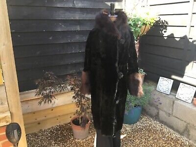 Genuine Antique 1920s Moleskin Coat Fur Collar & Cuffs Embroidered Crepe Lining • 100£