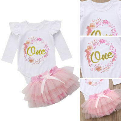 Newborn Baby Girl 1st Birthday Tops Romper Tutu Skirt Dress Outfits Clothes • 8.79£