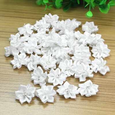40Pcs Satin Ribbon Flowers Appliques Craft Wedding Party Sewing DIY Decor White • 3.02£