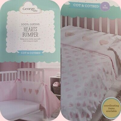 £22.50 • Buy Hearts Cot Bed Bumper Quilt Baby Girl Pink 4 Tog Bedding 100% Cotton Breathable