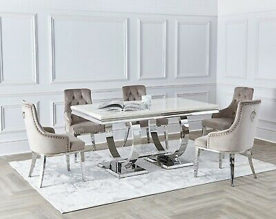 £575 • Buy NICHES Cream Marble Top Arianna Style Dining Table Chrome 180cm