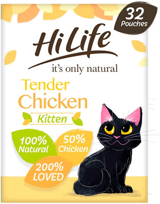 £25.31 • Buy HiLife It's Only Natural Kitten Food Tender Chicken, 32 X 70 G Pouches