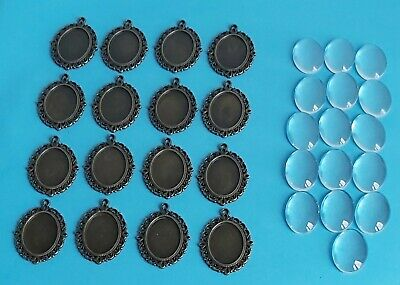 Cameo Cabochon Settings Antique Bronze With Glass Domes. Inner Size 25 Mm X 18mm • 8.99£