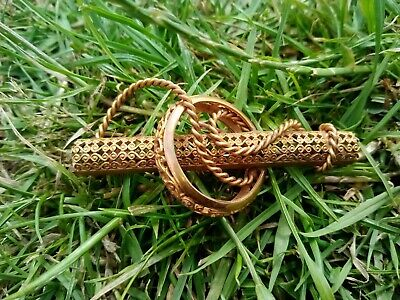£8.50 • Buy Brass Coloured Filigree And Wire Formed Brooch