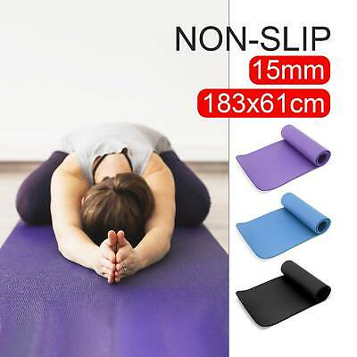 AU24.99 • Buy Thick Yoga Mat Pad 15MM NBR Nonslip Exercise Fitness Pilate Gym Durable AU