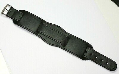 £12.95 • Buy CUFF BUND STYLE MILITARY GENUINE LEATHER WATCH STRAP BLACK 18-22mm MADE IN WALES