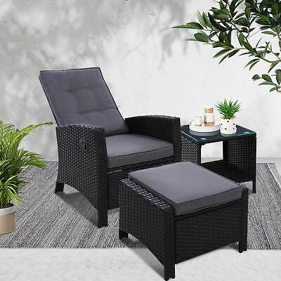 AU434.57 • Buy 3 Piece Outdoor Setting Recliner Chair & Table Set Wicker Lounge Patio Furniture