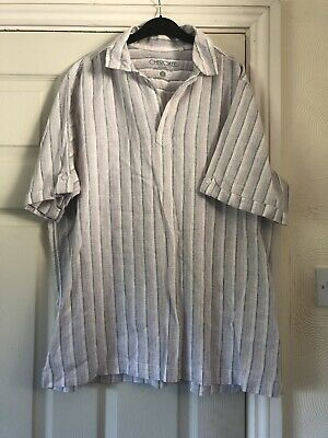 Mens Linen Blend Shirt / Tunic Striped Size Large  • 7£