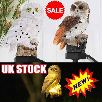 LED Owl Solar Powered Garden Light Outdoor Ornament Lawn Waterproof Statue Lamp~ • 6.36£
