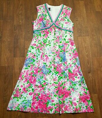 AU71.31 • Buy Original 1970s Vintage Bright Floral Summer Dress UK Size 12/14 Vintage Clothing