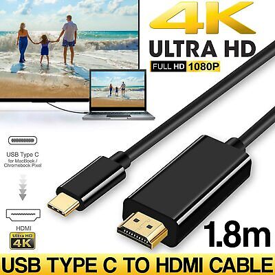 AU8.85 • Buy USB-C To HDMI Cable 4K USB 3.1 Type C Male To HDMI Male Cable Chromebook Macbook