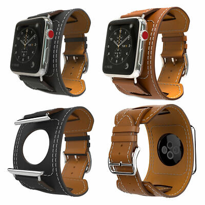 $ CDN15.99 • Buy For Apple Watch Series 2 3 IWatch 38mm 42mm Genuine Cowhide Leather Strap  Band