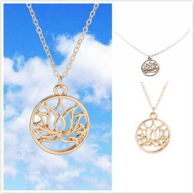 $ CDN1.26 • Buy Fashion Women Hollow Lotus Flower Pendant Choker Gold Necklace Chain Jewelry KV