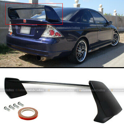 $99.99 • Buy For 01-05 Civic 2DR EVO Style JDM Unpainted Black Rear High Wing Trunk Spoiler