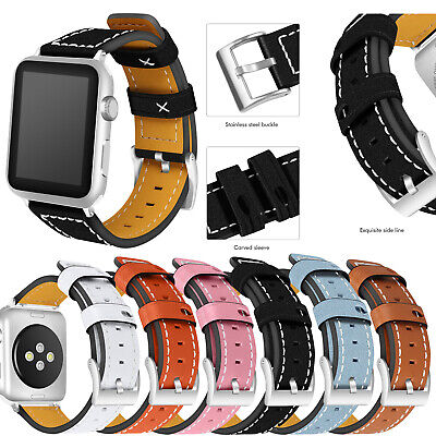 $ CDN13.39 • Buy █ For Apple Watch Series 3 2 1 Wristwatch Band Cuff Leather IWatch Strap 38 42mm