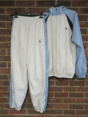 Ralph Lauren White And Blue Shell Suit Jacket And Trousers Size L [879] • 9.99£