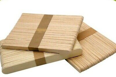 50 Pack PLAIN Natural Wood Wooden Lolly Sticks, For Craft, Ice Lollipops • 2.25£