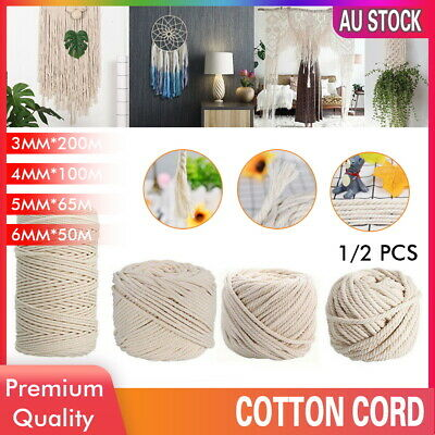 AU13.79 • Buy 3/4/5/6mm Natural Cotton Rope Cord String Twine Braided Hand Craft Macrame DIY