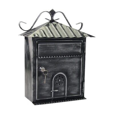 Letter Box, Metal Letter Box Retro Black Vertical Lockable Mailbox, Anti-Ru F6E1 • 45.99£