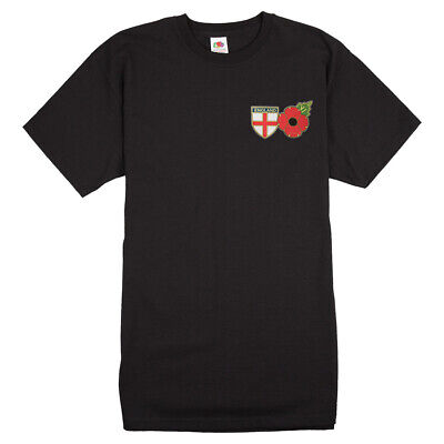 Poppy T-shirt With England Flag Shield - Remembrance Sunday, St George's Day • 16£