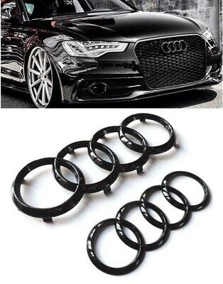 Set Front & Rear Grille Badge Rings Logo Emblem Black Gloss For Audi A3 A4 A5 A6 • 17.99£
