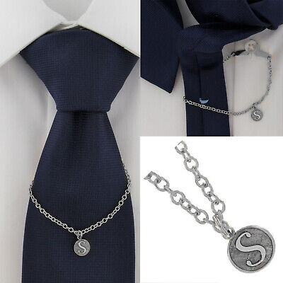 $21.21 • Buy Ky & Co Initial S Silver Tone Tie Chain Button Hole Attachment 7.5  USA Made