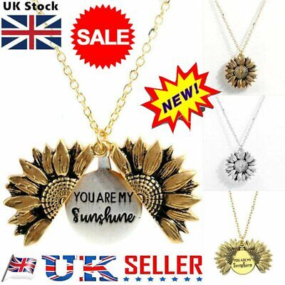 You Are My Sunshine  Open Locket Sunflower Pendant Necklace Women's Gifts &U • 2.54£