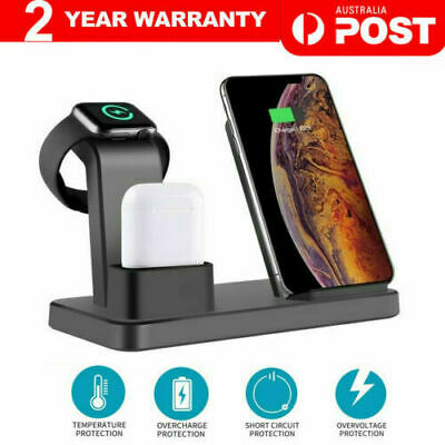 AU17.99 • Buy 3in1 Qi Wireless Charger Fast Charging Dock Stand For Airpods Apple Watch IPhone