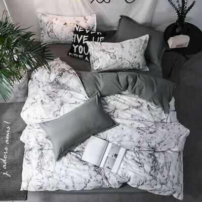 AU33.90 • Buy Doona Duvet Quilt Cover Pillowcase Set Double Queen King Size Grey White Marble