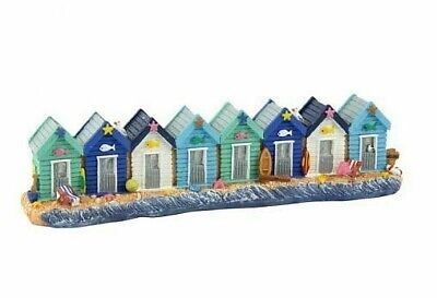 8 Brightly Painted Beach Huts On The Beach * Seaside Coastal Home Decor Ornament • 16.95£