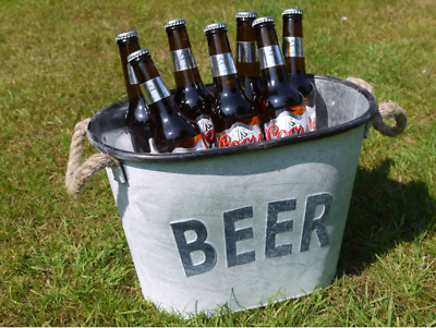 Large Metal Beer Cooling Bucket Drink Holder Container Ice Cooler • 17.99£