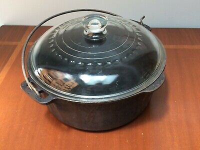 $ CDN97 • Buy 5 Qt. Griswold Wagner Ware Cast Iron Dutch Oven Original Glass Lid & Handle/Bail