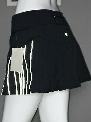 $ CDN79.20 • Buy Lululemon Run Reflection Skirt 10 Black Pinstripe Ruffles Pleated Nwt Rare