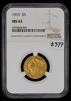 $ CDN1051.51 • Buy 1915 G$5 Indian Head Gold Half Eagle, Luster! *NGC MS 62* LOT#Z377