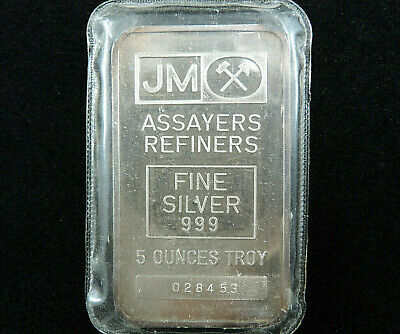 $ CDN229.95 • Buy 5 Troy Oz JM Silver Bar Johnson Matthey 999 Fine Silver 028453 Blank Reverse