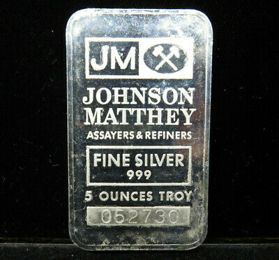 $ CDN229.95 • Buy 5 Troy Oz JM Silver Bar Johnson Matthey 999 Fine Silver 052730 Seven Full Logos