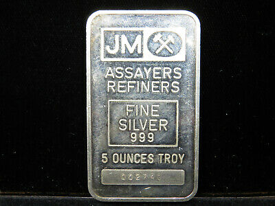 $ CDN229.95 • Buy 5 Troy Oz JM Silver Bar Johnson Matthey 999 Fine Silver 002740 Blank Reverse