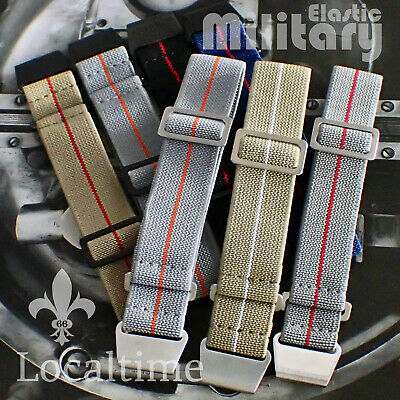 Military Watch Elastic Bands Straps S/S & Black Metalware 20 & 22mm 25+ Colours • 19.95£