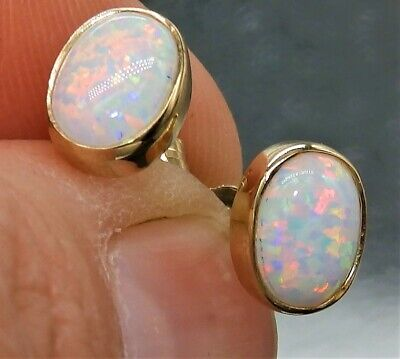 9 Ct Opal Cabochon Earrings Ladies Stud 9 Carat Yellow Gold • 94£