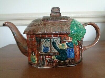 Tony Wood Ceramic Teapot ~ Thatched Cottage With Characters Drinking • 15£