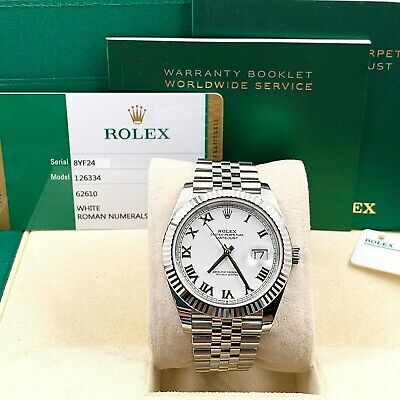 $ CDN14861.96 • Buy BRAND NEW Rolex Datejust 41 126334 White Dial Stainless And 18K Gold Box 2020