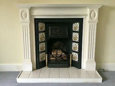 Victorian Style Tiled Cast Iron Fireplace And Wooden Fire Surround • 250£