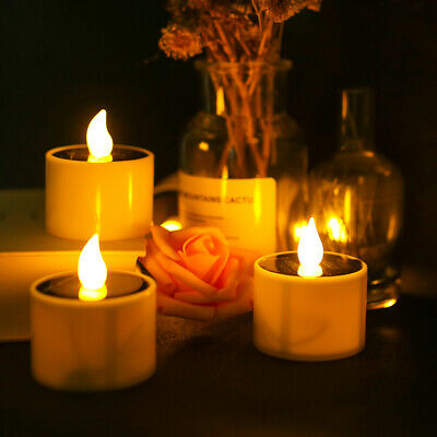 Solar Powered LED Candles Flameless Electronic Waterproof Tea Lights Lamp • 5.19£